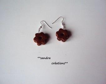 shape chocolate biscuit Flower Earrings