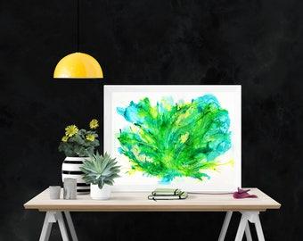 Original Tropical Botanical Abstract Ink Painting A3 Modern Art