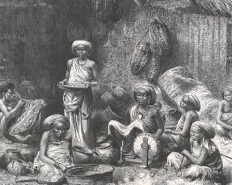 Somalia 1885, An afternoon at the favorite of the Sheik of the Gobrons, Old Antique Vintage Engraving Art Print, Woman, Hut, Wicker, Pot