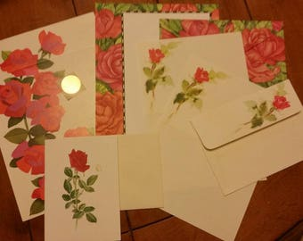 Vintage Stationery Collection ~ Mini Long Stem Red Roses Collection