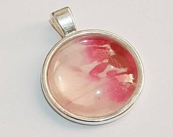 Pink Watercolour Glass Pendant
