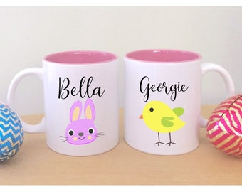 Easter mug with name cute easter gifts for kids easter gift set of two easter mugs with names cute easter gifts for kids childrens easter gift unique negle Image collections