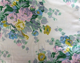 Vintage flowers printed fabric romantic kind thin and somewhat shiny satin