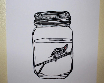 The Jar - turtle linocut print