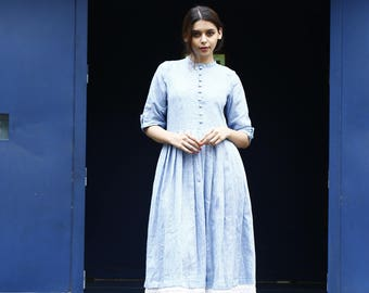Blue cotton lace midi dress