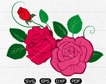 Rose Clipart, Rose Svg, Valentine's Day svg, cricut, cameo, silhouette cut files commercial & personal use
