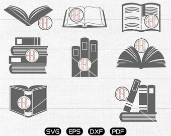 Book Svg, library Clipart, Monogram Frame cricut, cameo, silhouette cut files commercial & personal use