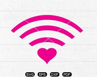 Heart wifi svg, Heart Clipart, cricut, silhouette cut files commercial use