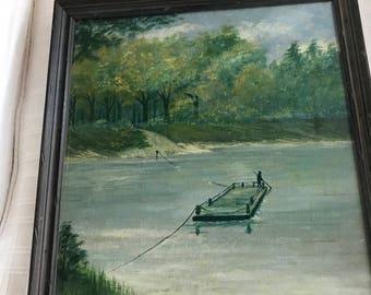 Vintage Framed Oil painting of lake/river landscape