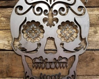 Sugar Skull Metal Sign