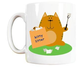 Kitty Litter Cat Mug, cat lover gift, gift for cat lover, cute cat, funny cat, gift for cat owner, cat lover gift for, cat lover gifts for