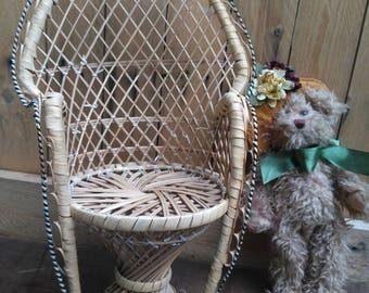Rattan Mini Peacock Chair, Wicker Planter, spooky doll, doll or door plant 1970 rattan chair