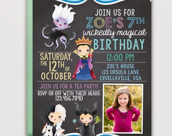Watercolor Villains Birthday Invitation