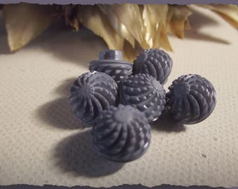 LOT 5 buttons grey blue with relief decoration * 10 mm * walking * 1 in 0.4 cm