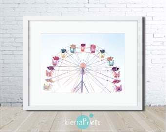 Ferris Wheel Print, Kids Room Interior, Circus, Colour, Digital Download, Home Decor, Bright, Fun, Trend, Rainbow