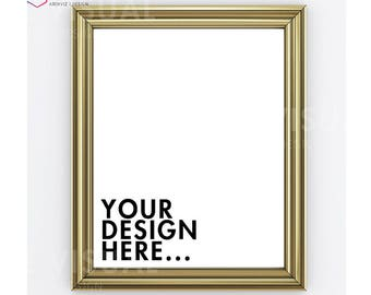 8 x 10 / 16 x 20 Vertical Digital GOLD Frame Mockup, Styled Stock Phtography Frame, Gold frame 8x10