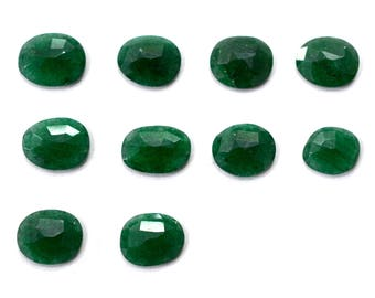 Aventurine Natural Green Aventurine Rose Cut Polki Both Side Faceted 31.75 Cts 10 Pieces For Designer Jewelry
