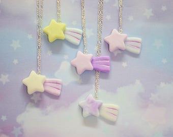 Shooting Star Falling Star Resin Necklace, Stars, Pastel Goth, Harajuku, Fairy Kei, Kawaii, Decora