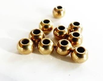 Perles rondes métal  6 mm bronze x10 - création bijoux