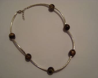 Necklace original silver tube and khaki beads