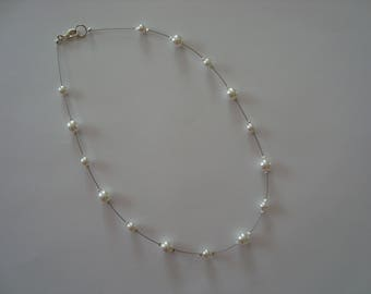 Wedding white glass beads necklace