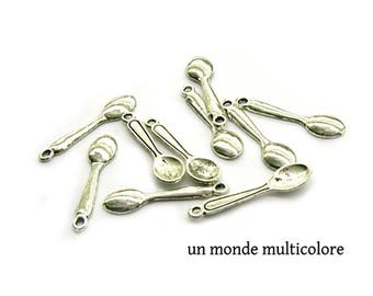 10 charms, Silverplated spoon size 24 x 6 mm