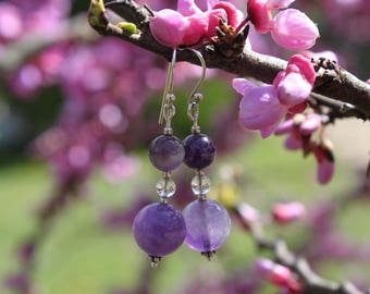 """Sterling Silver - """"air of nothing"""" - earrings in sterling silver, amethyst and rock crystal"""