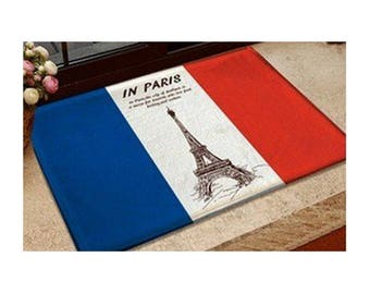 100% Flannel Eiffel Tower French Flag Print Doormat