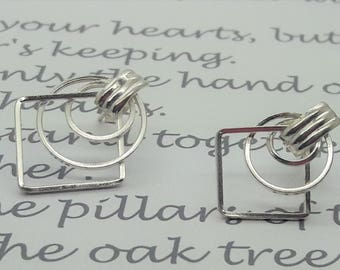Vintage Sterling Silver Geometric Earrings/Birthday/Christmas/Valentines/ Wedding/Free Shipping US
