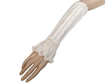 Cotton fingerless gloves arm warmers hand knitted ecru