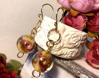 Gift Christmas Daughter Evening earrings, Murano Glass Earrings,Murano Glass  jewelry rose gold 14k gold fill friend earrings gypsy earrings