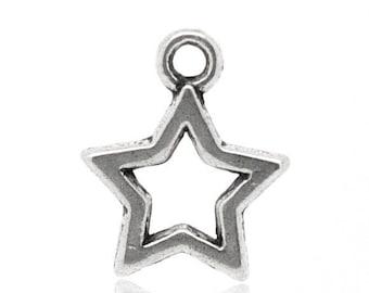 X 12 pattern 15x12mm silver tone star charms