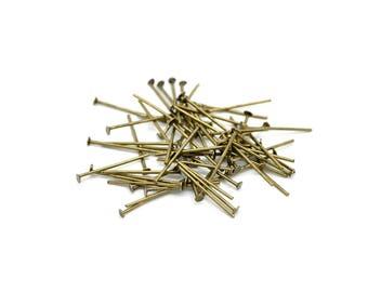 lot de 100 clous tiges à tête plate 26 mm métal bronze
