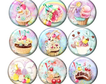 Set of 15 cabochons 20mm glass, cakes, ice cream, sweets, pastel tone ZC114