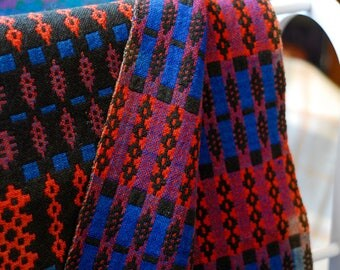 Vintage Welsh Tapestry Blanket, Black, Blue and Scarlet Welsh Blanket, Traditional Welsh Blanket, Welsh Throw, Welsh Wool Mill Blanket