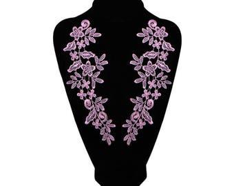 Pink floral guipure lace applique 1 pair x 26 x 9 cm @39 sewing