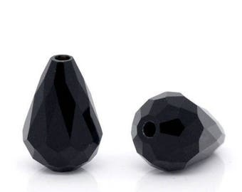 beautiful beads 10 x 12 x 8 mm black faceted glass crystal water drop