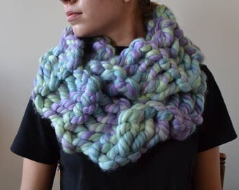 Oversized Scarf in OPAL - circle scarf, infinity scarf, unicorn scarf, handmade knit scarf, fall scarf, winter scarf