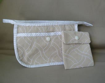 diy snap white embroidered beige canvas makeup pouch