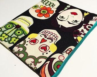 Sugar Skulls Fabric Pouch / purse / case with zipper