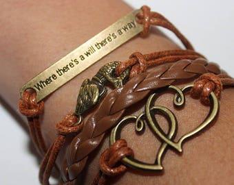 Leather Love Bracelet / Leather Wrap Bracelet / Multi Thread Bracelet