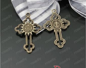 5 bronze 38 * 24MM D23336 cross charm