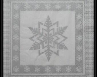 Silver snowflake napkin