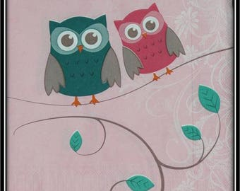 """napkin """"couple of owls on branch"""""""