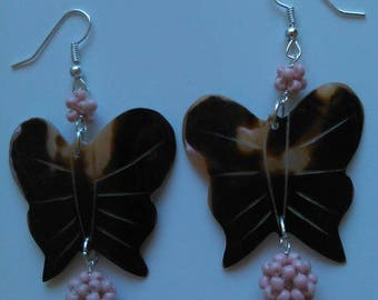 Mother of Pearl butterfly earrings and more textiles