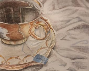 Original Drawing Colored Pencil of Teacup and Saucer on tablecloth
