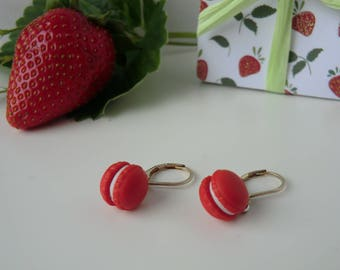Earrings for children - Strawberry macaron polymer clay