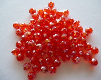 Red AB Crystal faceted beads 6 x 4 mm set of 10