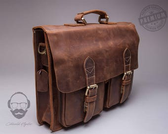 The Compton Leather Laptop bag, Leather Messenger Bag, Leather Briefcase, Leather Satchel, Messenger Bag, Satchel, Laptop Bag