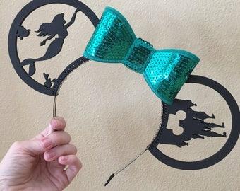 Custom Sequin Minnie Ears- The Little Mermaid
